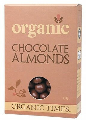 3 X ORGANIC TIMES Organic Milk Chocolate Almonds 150g