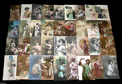 Lot C63 : 36 Cpa Femme Charme Miss Pin-Up Lady Mode Elegance French Beauty 1900