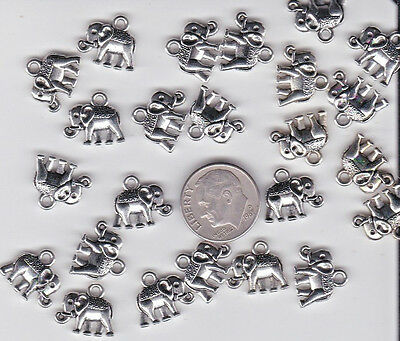 You Get 40  Metal Silver Tone Elephant Charms. Or Pendants - U.s. Seller  - A 10