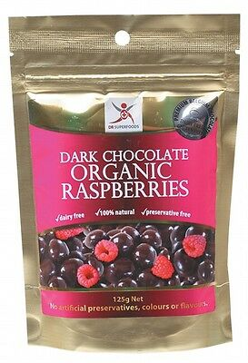 3 X DR SUPERFOODS Dark Chocolate Organic Raspberries - 125g