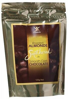 3 X DR SUPERFOODS Roasted Almonds Smothered in Dark Chocolate 125g