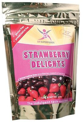 3 X DR SUPERFOODS Strawberry Delights 125g Strawberries Coated in Dark Chocolate