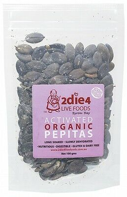 3 X 2DIE4 LIVE FOODS Activated Organic Pepitas - 100g