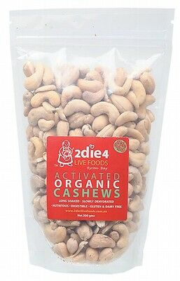 3 X 2DIE4 LIVE FOODS Activated Organic Cashews - 300g