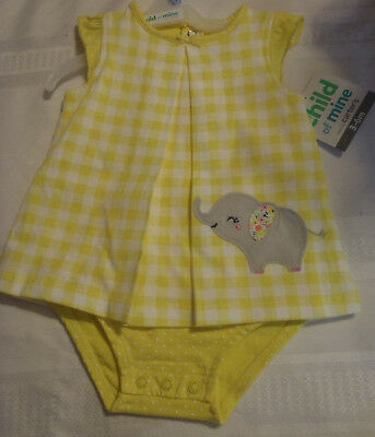 Child of Mine by Carters 0-3 3-6 Month Choice Summer Yellow Elephant Outfit NWT