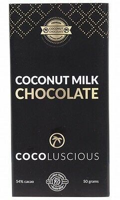 3 X COCOLUSCIOUS Chocolate (Raw/Organic/Vegan) with coconut milk 50g