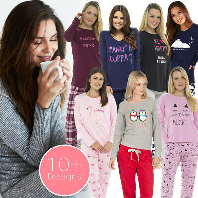 Ladies Girls Cotton Pyjamas Long Sleeve Top Nightwear Character Pyjama Set UK