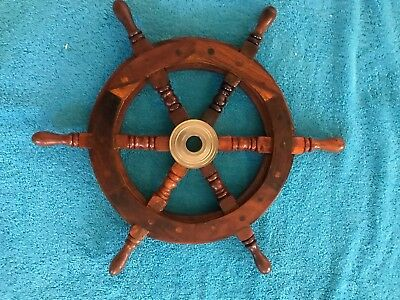 """15"""" Nautical Wooden Ships Wheel With Brass Hub"""