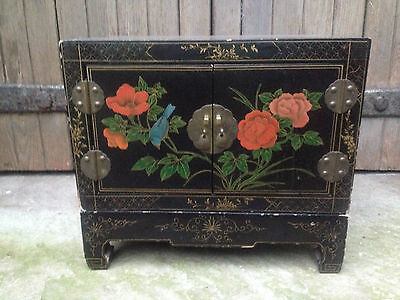 Excellentblack Lacquer Chinese 2 Door Altar Table Oriental Cabinet Birds Flowers