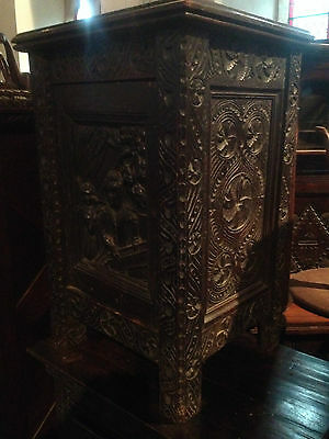 small antique carved gothic oak victorian free standing cabinet elizabethan lady
