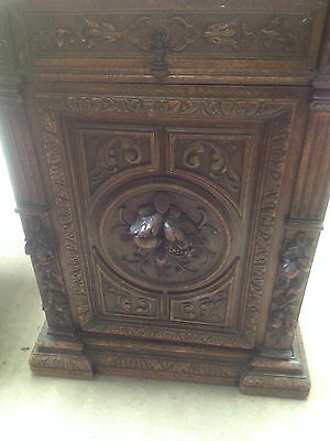 Sumptuously Carved Victorian Gothic Revival Oak Cabinet Dresser Cupboard