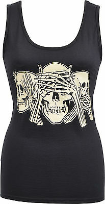 Womens Black Tank Vest Hear No Evil, See No Evil, Speak No Evil Skeleton S-2Xl