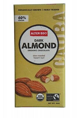 3 X ALTER ECO Dark Almond 80g - Organic Chocolate