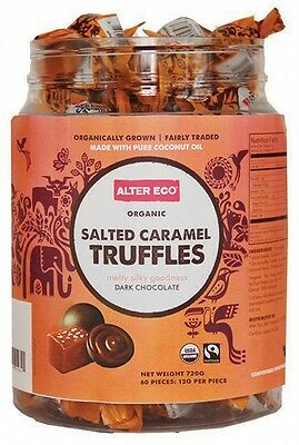 3 X ALTER ECO Chocolate Organic Salted Caramel Truffles Dark Chocolate Tub of 60