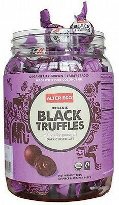 3 X ALTER ECO Chocolate (Organic) Black Truffles - Dark Chocolate Tub of 60x12g