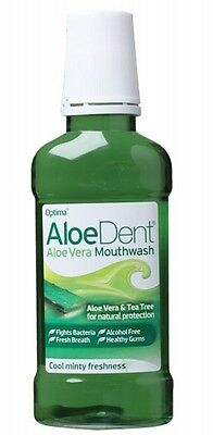 3 X ALOE DENT Mouthwash Mint with Aloe Vera & Tea Tree - Alcohol Free - 250ml
