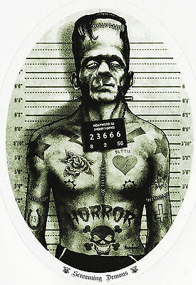 Tattoo Frankensteins Monster Mug Shot Skulls Swallows Vinyl Oval Sticker A6