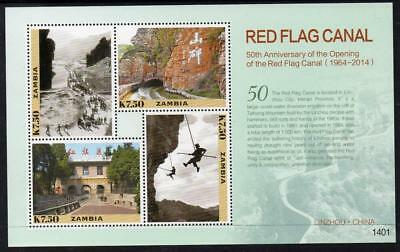 Zambia MNH 2014 The 50th Anniversary of Red Flag Canal  M/S