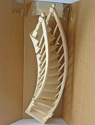 Closeout! Dollhouse Miniature Elegant Curved Wood Staircase, LEFT, CLA70221