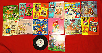 Vintage Lot of 14 Walt Disney and Read and Hear Books and Records 33 1/3- 45 RPM