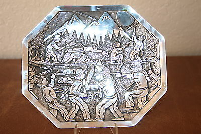 FLOYD BECENTI Well Detailed 11 OZ of Sterling Silver Indians and Cowboy  PLATE