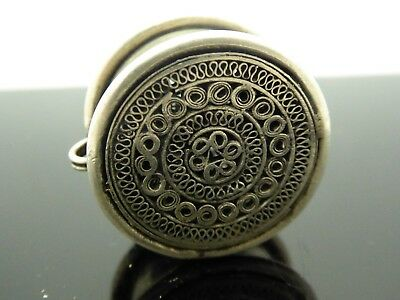 Vintage Style Silver Plated Hmong Miao Hill Tribe Filagree Ear Plug Pendant