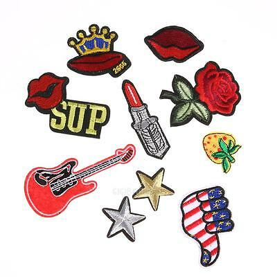 10pcs Mixed Applique Embroidery Patch Sticker Iron On Sew Cloth Patch DIY #gib