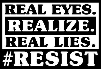ANTI TRUMP Vinyl Decal Window Sticker - Real Eyes Realize Real Lies #Resist