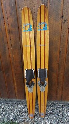 Antique Set Of Wooden 65 Long Waterskis Water Skis Sea Gliders Senior