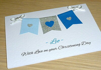 Personalised Christening Baptism Naming Day First Communion Card - handmade