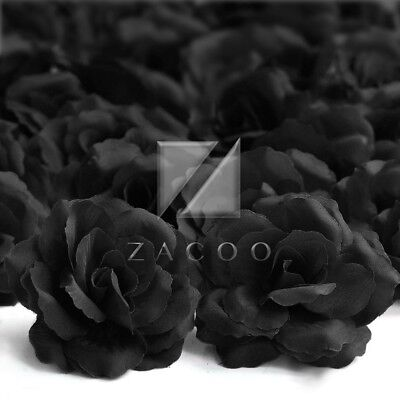 20pcs Artificial Flower Heads Big Rose 70mm Wedding Bridal Decor Black IW
