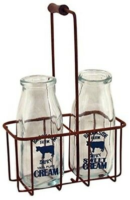 Vintage Milk Bottles Glass Cream Rusty Carrier Milkman Antique Country Container