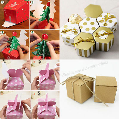 50X Wholesale Colorful Paper Gift Box Christmas Tree Bag Sweet Packing Birthday