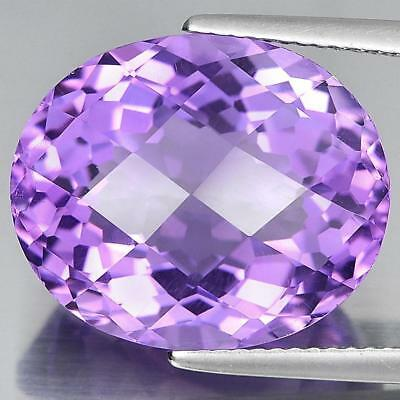 Natural Gemstone 14.55 Ct. Purple Amethyst Oval Checkerboard Cut From Brazil