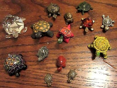 Lot of 14 Adorable Vintage Turtle Figurines for Your Collection