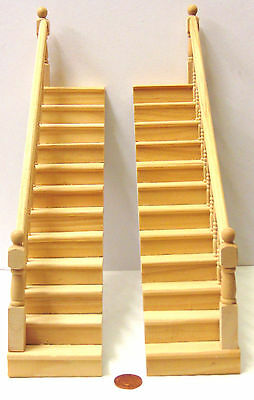 1:12 Scale Natural Finish Tumdee Dolls House Fixed Bannister Rail Stair Case