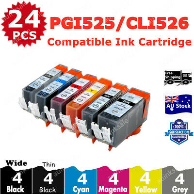24X Ink Cartridges PGI525 CLI526 + Gray for Canon MG5250MG6100MG6150MG6250MG8150