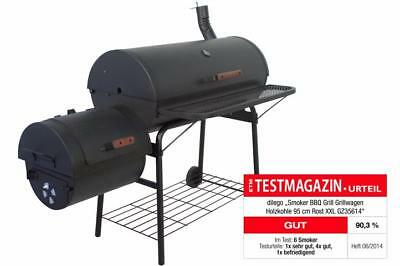 Smoker BBQ Grill Grillwagen Barbecue Holzkohlegrill 95 cm Rost XXL