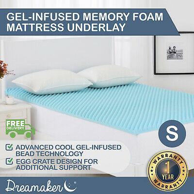 COOL GEL INFUSED Memory Foam Mattress Topper Underlay Egg-Crate SUMMER Size 5CM