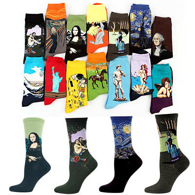 Winter High Socks 1Pair Art Cotton Painting Printed Socks Women Men
