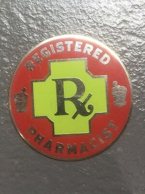 Antique Red Green & Silver Circular Metal Registered Pharmacist Sign/Plaque