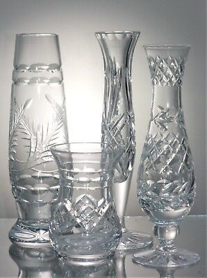 Two Pretty Cut Lead Crystal Glass Specimen Vases (1 signed Tutbury)  9 & 16.5 cm