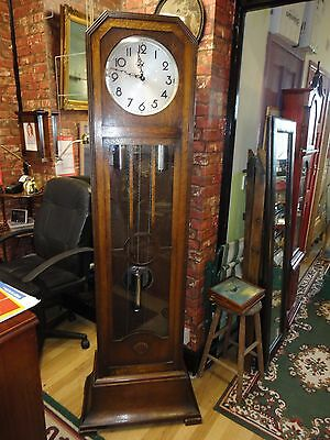 Large Art Deco Oak Casing Grandfather Clock Made In Germany