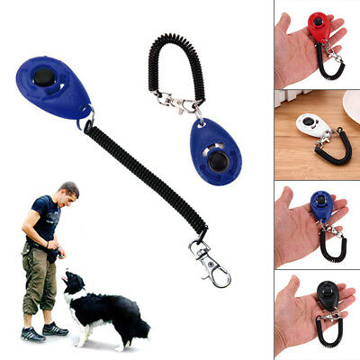 Pet Dog Puppy Cat Click Clicker Training Obedience Trainer Aid With Wrist Strap