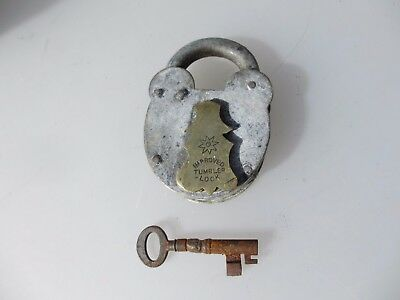 "Vintage Steel & Brass Padlock Lock with Key Iron Old Lever ""Tumbler"""