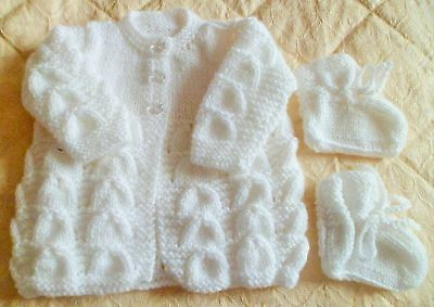 Beautiful White Hand Knitted Baby Cardigan Newborn With Matching  Bootees