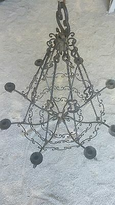 Hand Forged Wrought Iron Chandelier-South America-Vintage