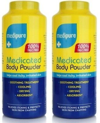 Medipure Medicated Body Powder 100% Talc free - 2 x 200g - Soothing Treatment