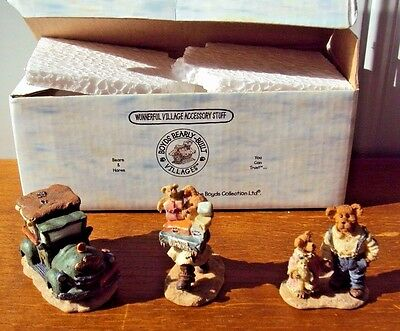 Boyds Bearly - Builet Villages - Ted E. Bear Shop - 3 Miniature Figurines