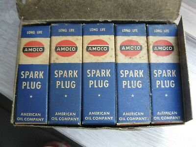 NOS Vintage AMOCO Spark Plugs With Box Ford Chevrolet - Lot of 10 - FULL BOX !!!